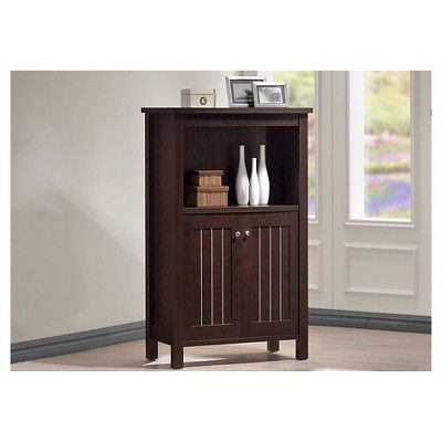 Cyclo Modern and Contemporary Sideboard Storage Cabinet with Two Doors - Dark Brown - Baxton Studio