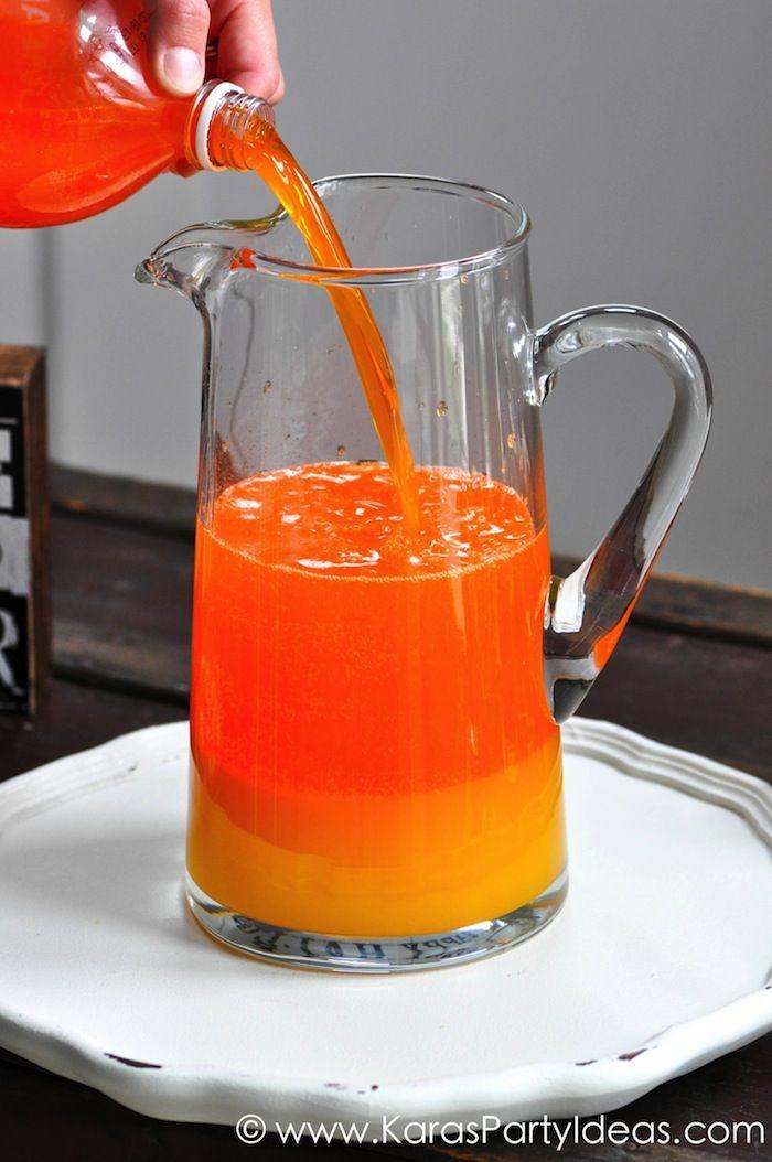 Candy Corn Halloween Drink / Punch Recipe via Kara's Party Ideas | KarasPartyIdeas.com #halloweendrink #candycorn #candycornpunch #candycorndrink #halloweenpartyideas #karaspartyideas (5)