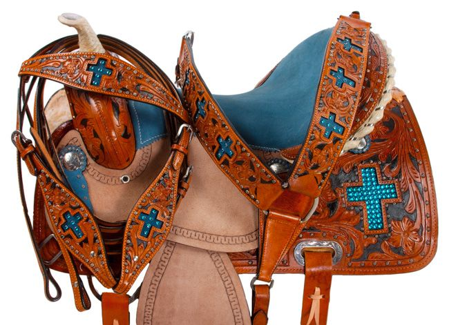 Blue Cross Rough Out Barrel Racing Western Horse Saddle 16