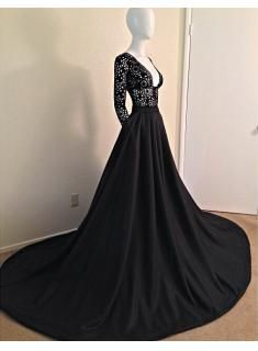 2015 Sexy Black Lace Prom Dress Long Sleeves V-neck A-line Womens Evening Party Gowns