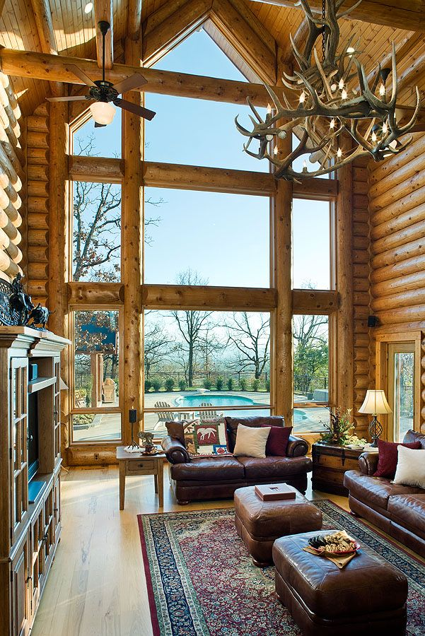 Big Windows Log Home Log Cabin Pinterest Lakes