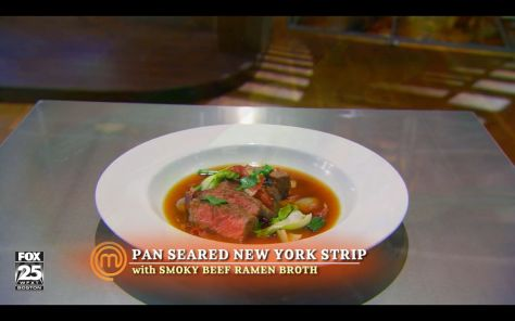 #MasterChef #Junior #recipe! S3E3 - Pan seared New York Strip with smoky ramen beef soup by Riley. Such subtlety in flavors <3