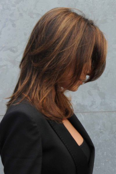 Elisabetta Canalis brunette, layered hairstyle