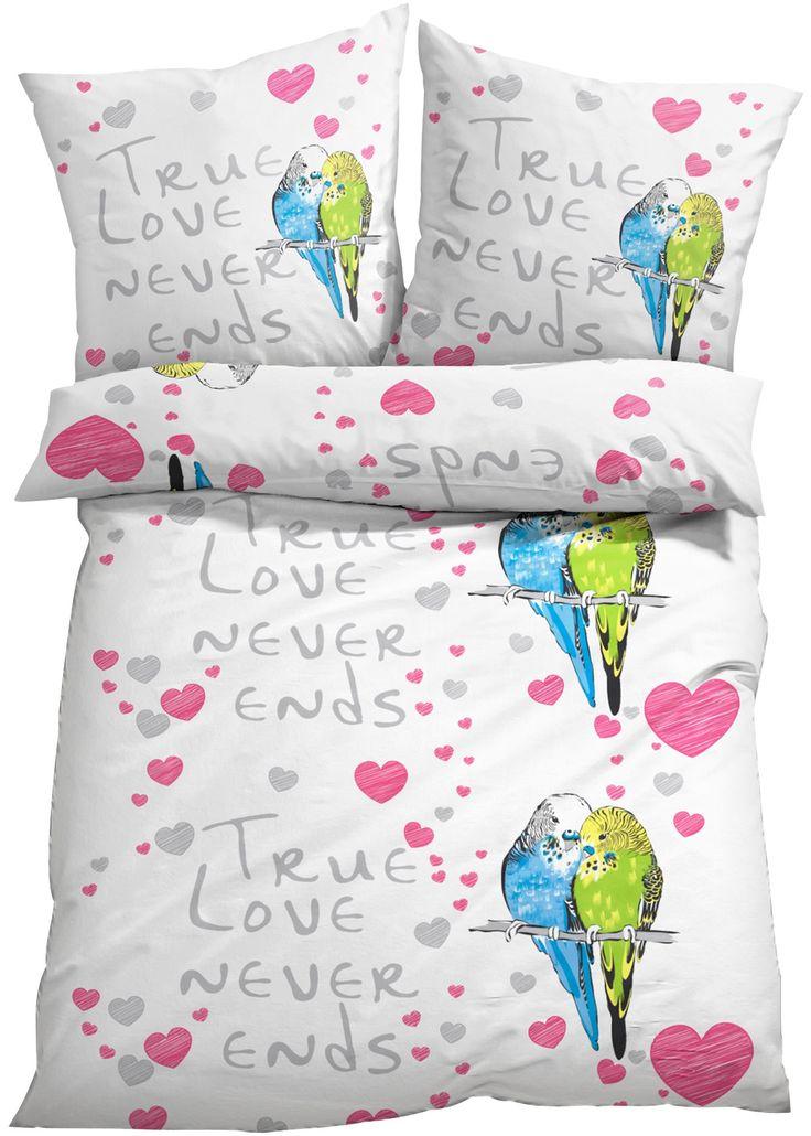 """Bettwäsche """"Vogel"""", Linon bunt - bpc living jetzt im Online Shop von bonprix.de ab ? 19,99 bestellen. Wahre Liebe endet nie! Ein schöner Spruch ziert diese ..."""