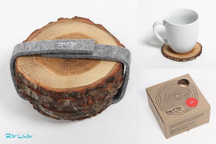 De Tree4Tea houten onderzetters zijn origineel & functioneel. In 4 soorten hout, geleverd in een mooie verpakking!