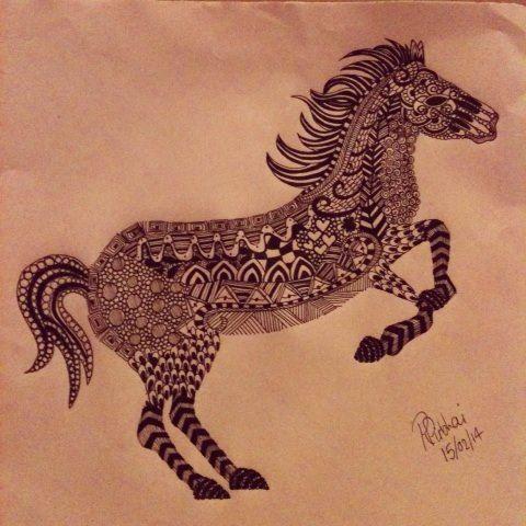 horse zentangle art