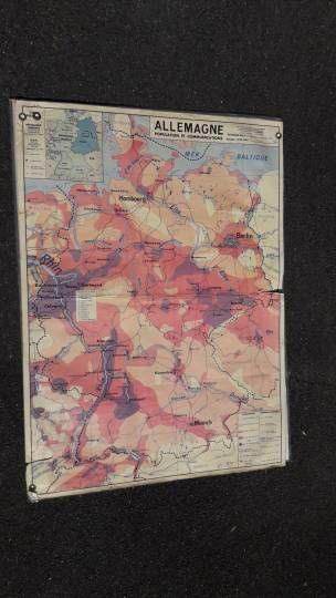 Carte scolaire vintage : géographie, population et communication de l'Allemagne