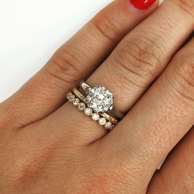 Wedding Ring Idea: Single Stone Stack!! Love This Idea Of Mixing Metals And