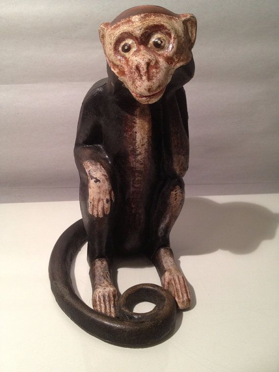 ANTIQUE CAST IRON Monkey Bank Doorstop 1800s Original Paint Amazing  Condition Collectable on Etsy, $350.00 | Old Doorstops | Pinterest |  Monkey, ... - ANTIQUE CAST IRON Monkey Bank Doorstop 1800s Original Paint
