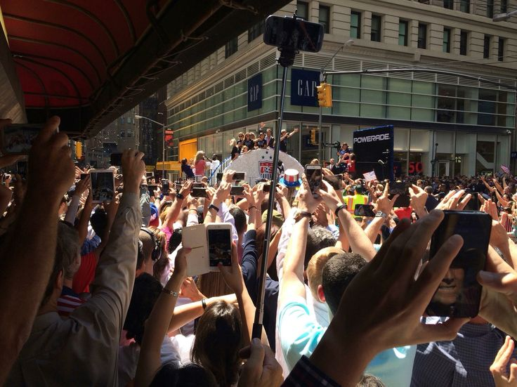 2015 U.S. Women's Soccer Team celebrating 2015 Women's World Cup victory NYC Parade