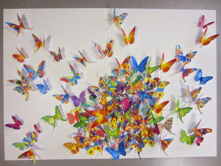 PO-Gallery: Mei 2014 - 2BVL / Groepswerk vlinders - kleurpot...