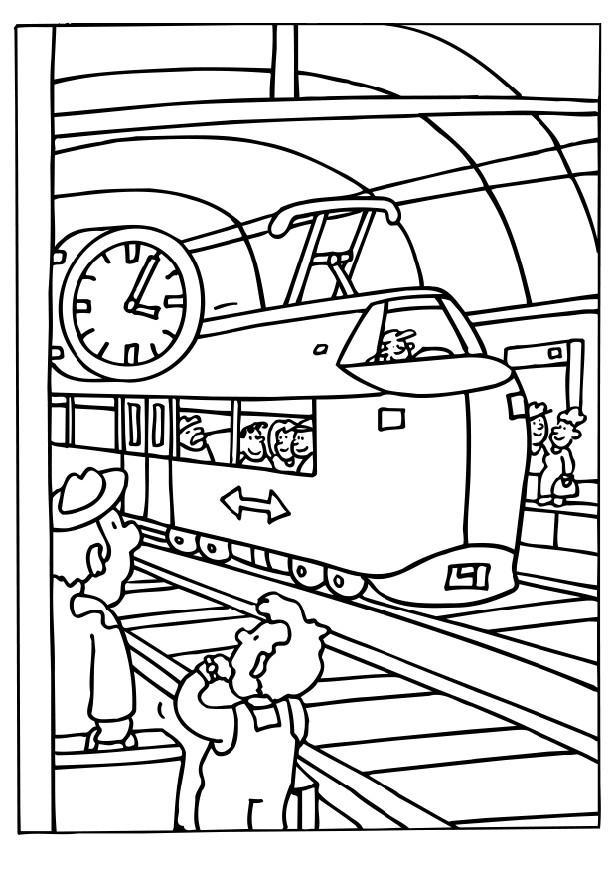 kleurplaat: met de trein