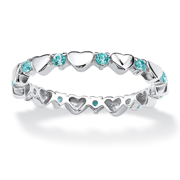 Round Birthstone Sterling Silver Heart Eternity Band Stack Ring - December - Simulated Blue Topaz