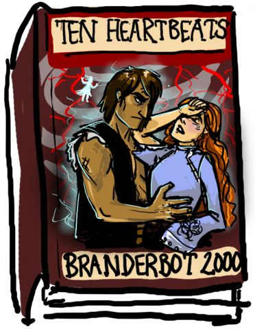 Shallan/Kaladin: Ten Heartbeats - Stormlight Archive Art - Gallery - 17th Shard Forums / In an alternate universe, there was a writing machine named Branderbot 2000 who churned out romance novels 3 times a year, like clockwork. His most popular series featured a tall, dark and broodingly mysterious protagonist who went around shirtless and glowing