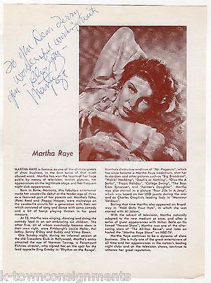MARTHA RAYE VAUDEVILLE ACTRESS VINTAGE AUTOGRAPH SIGNED PLAYBILL PAGE & PHOTO