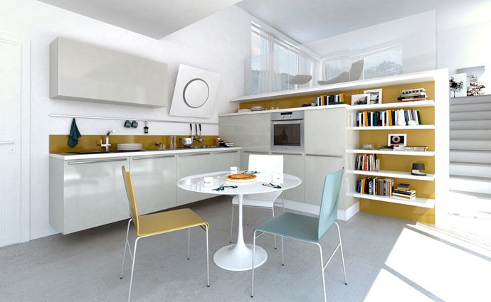 Green and White Color Kitchen Design