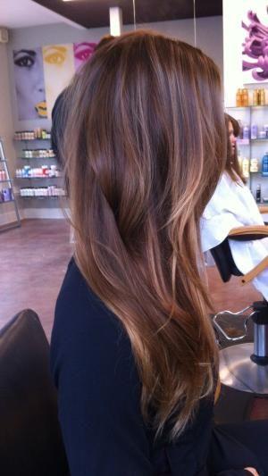 Balayage / O cabelo longo marrom com caramelo e loiro destaques / por Rena