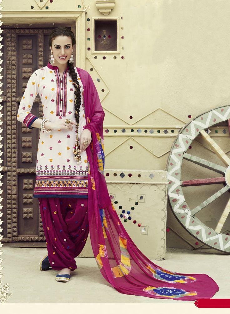 Off White Cotton Patiala Suit 69629