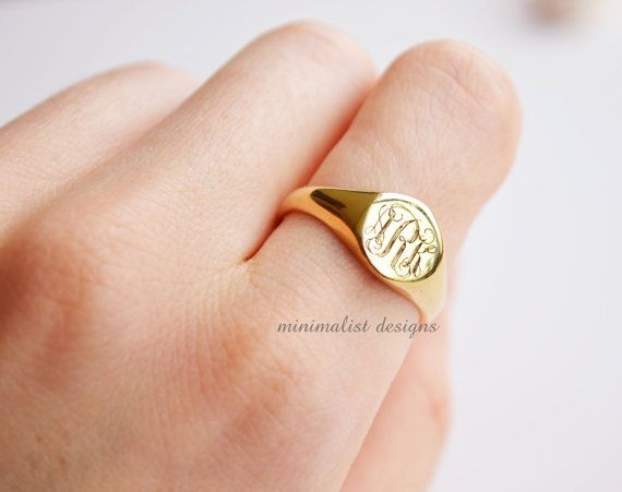 Sterling Silver, Gold Signet Ring, gold, Monogram, Gold signet, Engraved Ring, Bridesmaids Ring, Valentines Day, DHL Express Shipment