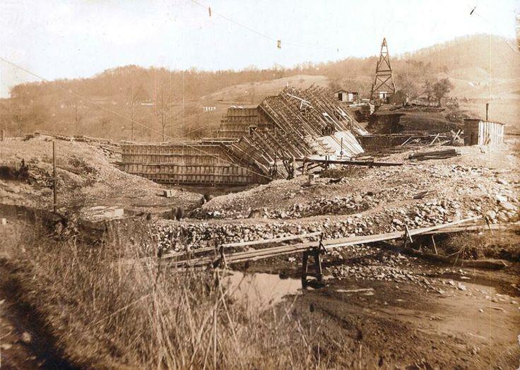 Construction of the Lake Junaluska Dam, circa 1911-1912. Via the Lake Junaluska Facebook Page