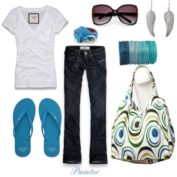 Style For less $$: Casual Style, Casual Summer Style, Color, Weekend Outfits, Blue Whit, Hello Summer, Spring Outfits, Women Jeans, Peacock Totes
