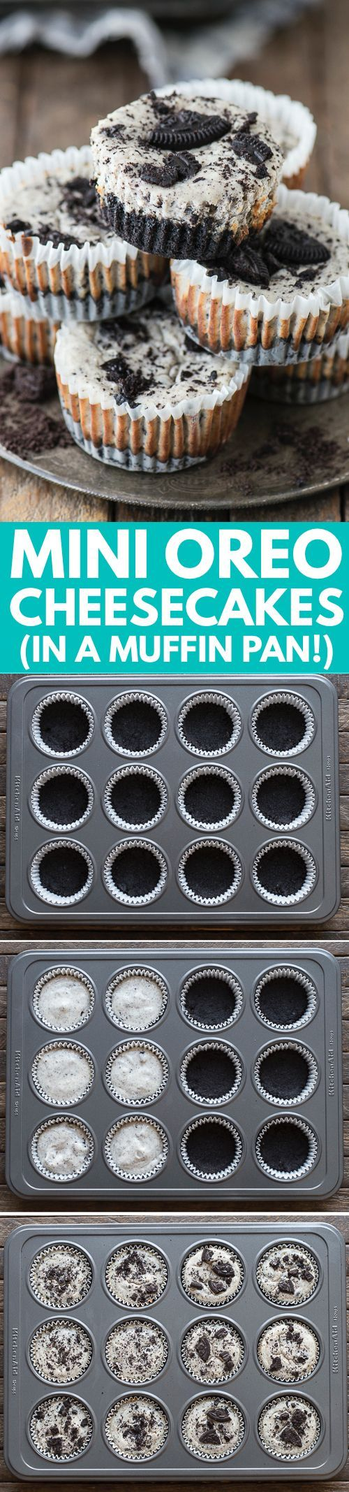 7 ingredient mini oreo cheesecake recipe made in a muffin pan!                                                                                                                                                                                 More