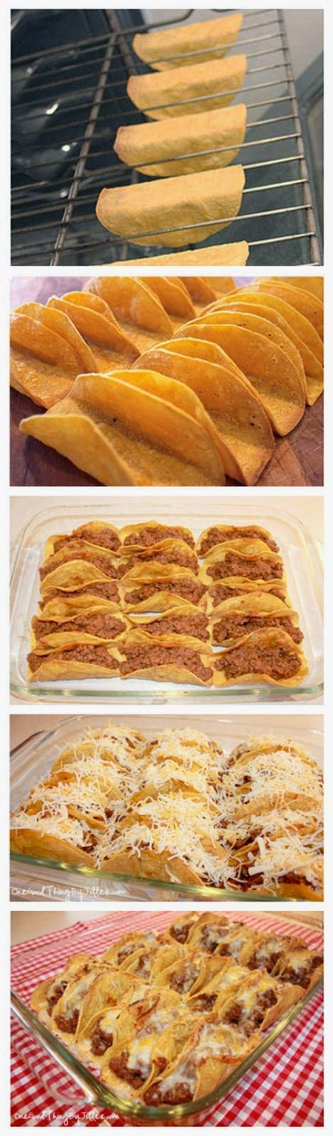 damp cloth or paper towel and microwave on High until steamed, about 30 seconds. Lay the tortillas on a clean work surface and coat both sides with cooking spray. Then carefully drape each tortilla over two bars of the oven rack. Bake at 375°F until crispy, 7 to 10 mins. Fill, bake 400' 10 mins