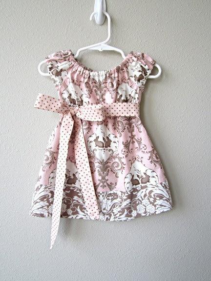 Pink Garden Bunnies Dress Easter Dress Girls by crocodilecrunch, $38.00