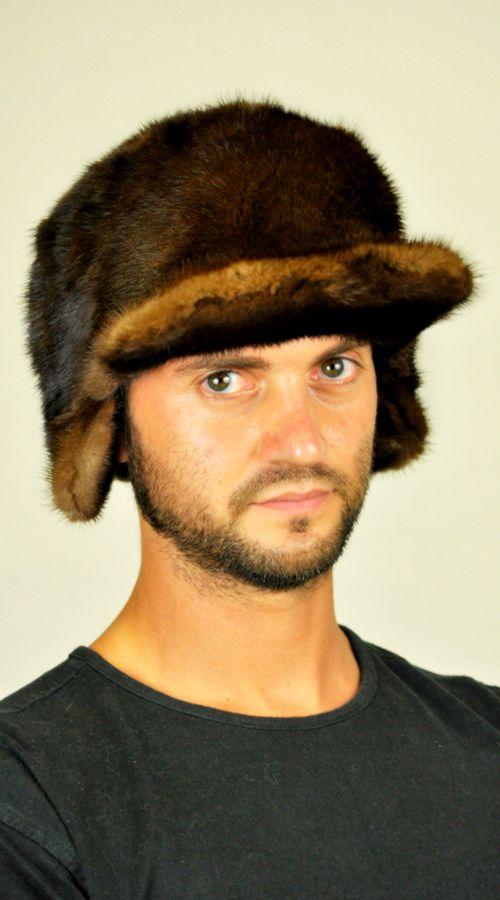 Cappello pelliccia uomo con visiera visone  www.amifur.it