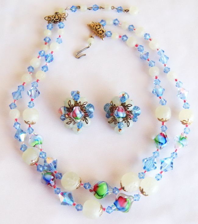 Vendome Blue Crystal Art Glass Necklace Earring Set- Gorgeous Lamp work Beads!