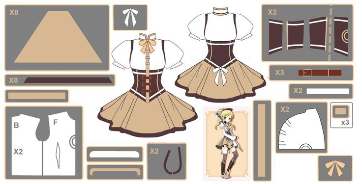 Mami Tomoe ~Magical Dress~ Cosplay Design Draft by Hollitaima.deviantart.com on @deviantART