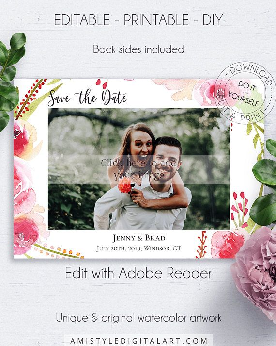 Floral Save the Date PDF Photocard, with romantic and stylish watercolor rose graphics, for your perfect dream wedding.This glamorous save the date photo card template is an instant download EDITABLE PDF so you can download it right away, DIY edit and print it at home or at your local copy shop by Amistyle Digital Art on Etsy