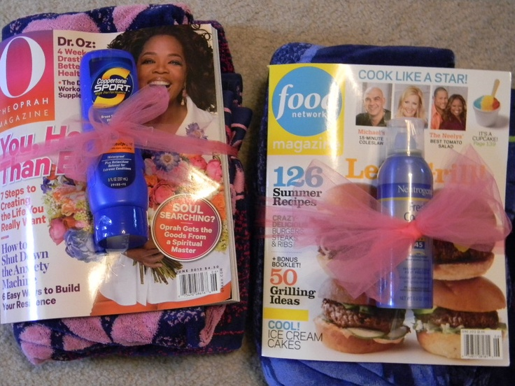teacher gifts - end of year. My version, all from Costco = towel, mag, sunscreen.