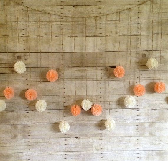 Peach and Ivory Tissue Paper Flower Wedding Garland, Photography Prop, Party Decoration, Pom Poms Garland, light coral on Etsy, $40.00