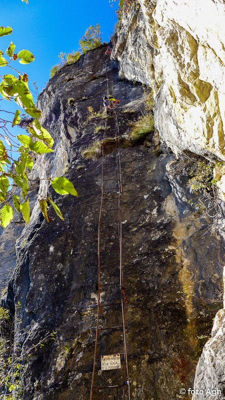Via Ferrata dell'Amicizia a Cima Sat m 1276, Alpi di Ledro. Ferrata abbastanza facile ma non bisogna soffrire di vertigini. Scale lunghissime ed esposte da salire! ● http://girovagandoinmontagna.com/gim/vie-ferrate-in-trentino/(alpi-di-ledro)-via-ferrata-dell'amicizia-a-cima-sat-m-1276/