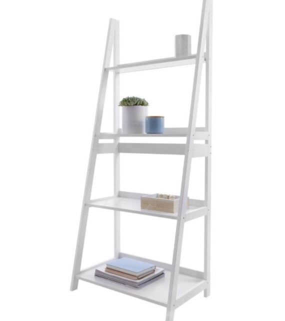Details About 4 Tier Ladder Shelf White Bookshelf Plant Decor Bookcase Shelving Stand Rack Shelves White Bookshelves White Ladder Shelf