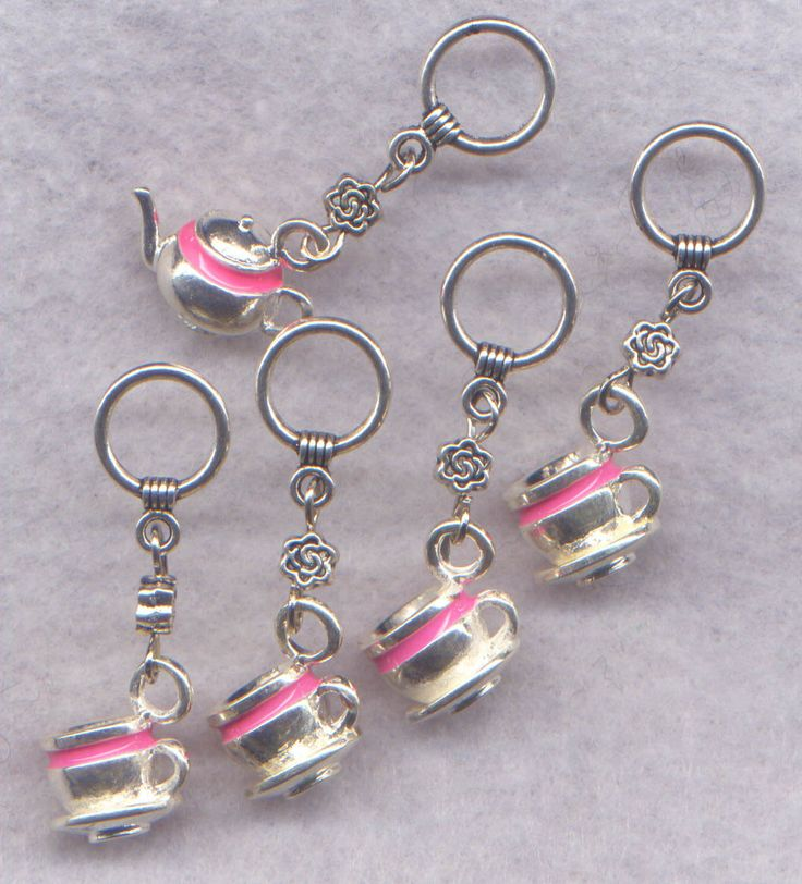 Tea Party Knitting Stitch Markers Cuppa Tea Pot Coffee Cup Pink Theme Set of 5/SM96P from GloriaPatreSpinNKnit on Etsy Studio