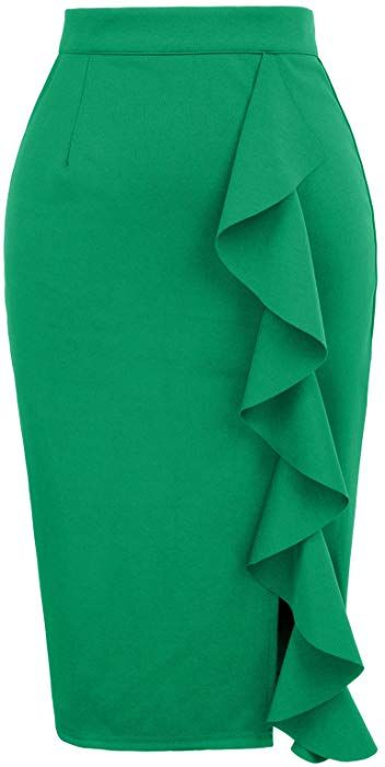 6f1df56b1f GRACE KARIN Womens Stretchy Slit Wear to Work Office Pencil Skirt Size S  Black at Amazon Women's Clothing store: