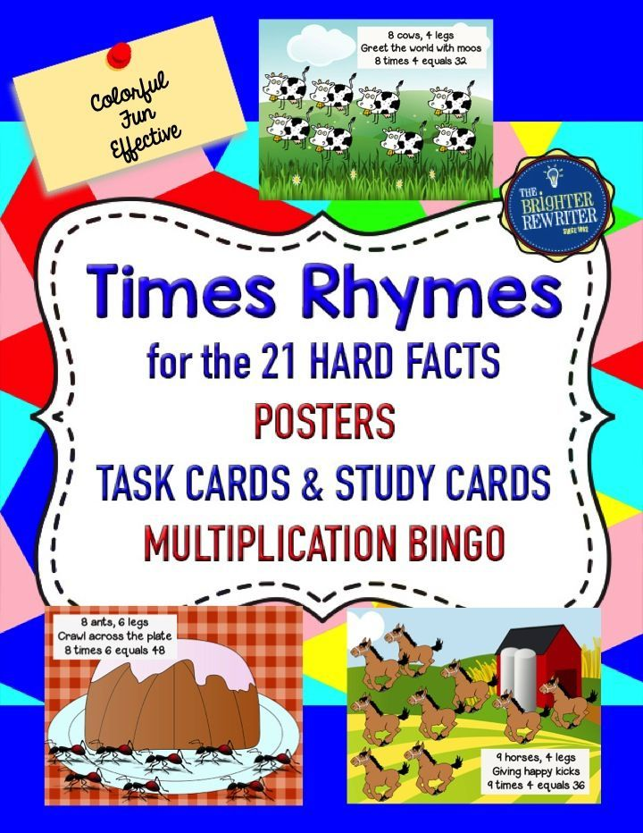 Times Rhymes Multiplication includes colorful posters of the 21 most difficult times table facts, task cards for practice, mini-cards of the multiplication rhymes, a multiplication bingo game, and teacher notes!