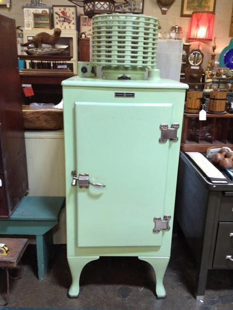 I like it even better in jadeite green!  Vintage 1930s GE Refrigerator.
