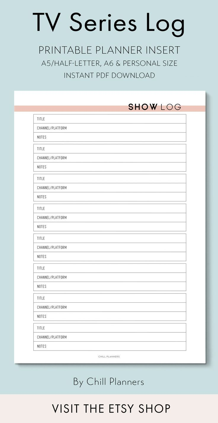 Tv Series Show Log A5 A6 And Personal Size Printable Etsy In 2020 Planner Inserts Printable Planner Inserts A5 Planner Printables Free