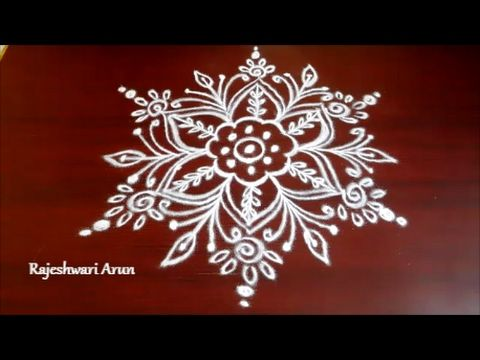 easy rangoli designs with free hands || simple kolam designs without dot...