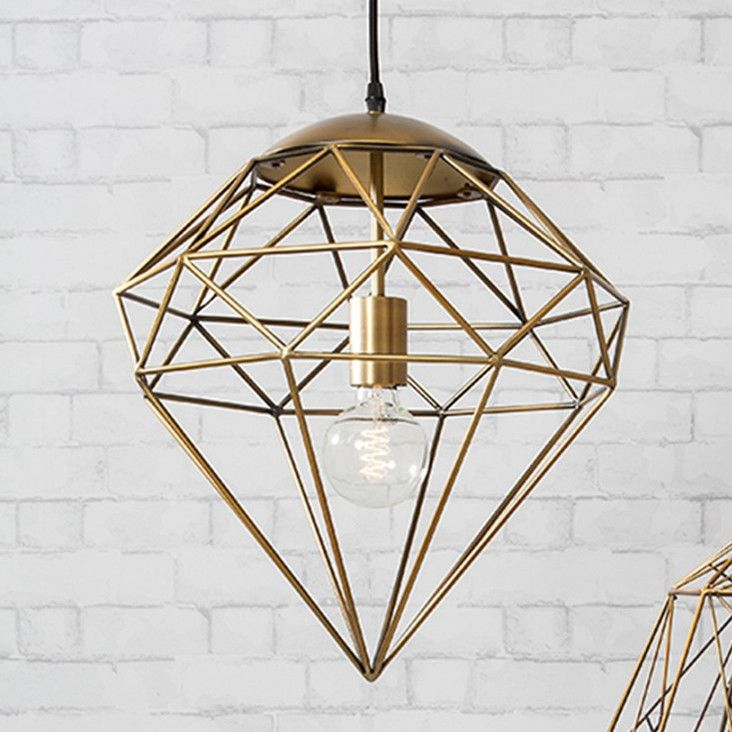 72 best ceiling lights images on pinterest pendant light would make a stunning addition to any living space the unique diamond shade has a stylish metal frame finished in an antique gold colour aloadofball Choice Image