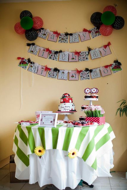 For more check out- www.these-2-hands.com -  Sweet ladybug dessert table #ladybug #desserttable #these2hands