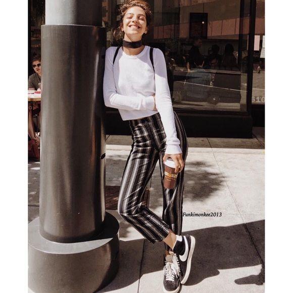 Brandy Melville black/white striped Tilden pants NWT Brandy Melville Pants