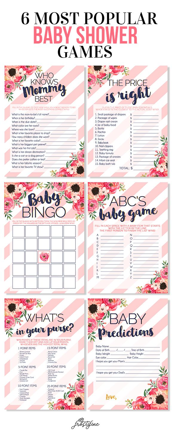 Itu0027s A Girl Baby Shower Game Card Set, Blush Pink And Navy Blue With  Watercolor Flowers