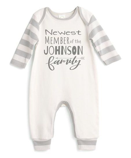 23a112cefa49 Tesa Babe Ivory   Gray Stripe Newest Personalized Playsuit - Newborn ...