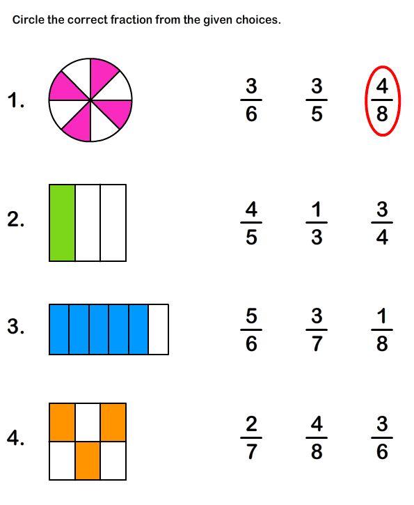 Math Worksheets, Grade-2 Worksheets, Fractions Worksheet ...