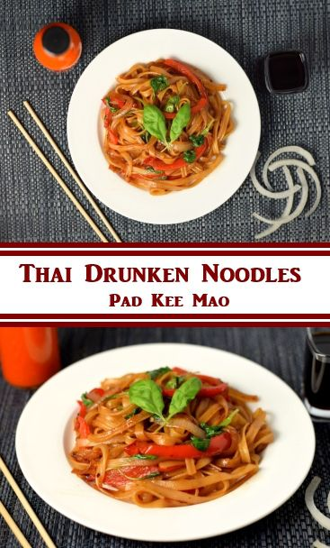 Pad Kee Mao Recipe, Thai Drunken Noodles - Use vegan oyster and fish sauce