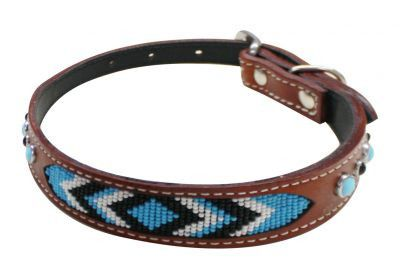 "Showman Couture ™ Genuine leather dog collar beaded inlay. This 1"" leather dog collar features a medium leather with turquoise beaded inlay design and is accented with turquoise studs."